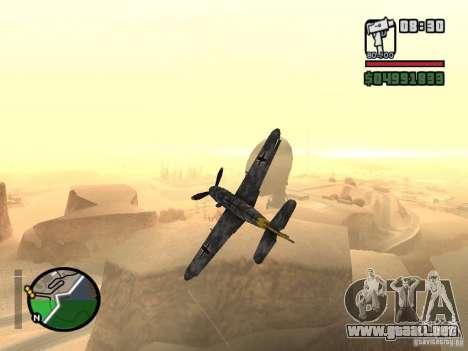 BF-109 G-16 para GTA San Andreas vista hacia atrás