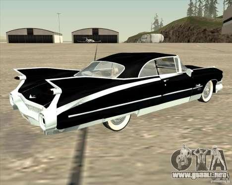 Cadillac Eldorado 1959 para GTA San Andreas vista posterior izquierda