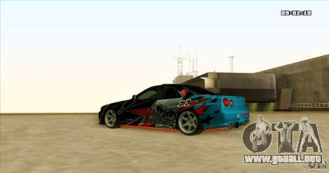 Nissan Skyline R34 Evil Empire para GTA San Andreas vista hacia atrás