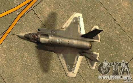 Lockheed F-35 Lightning II para GTA San Andreas vista hacia atrás