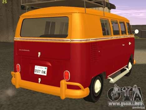 Volkswagen Transporter T1 Camper para GTA San Andreas vista posterior izquierda