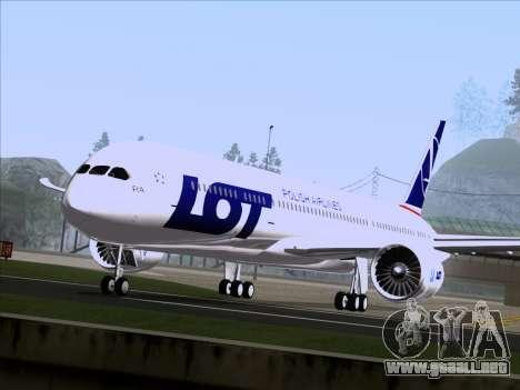 Boeing 787-9 LOT Polish Airlines para GTA San Andreas vista posterior izquierda