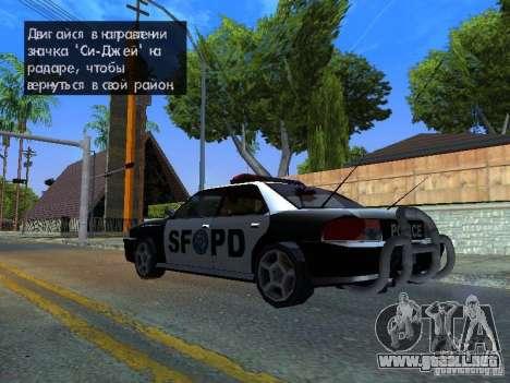 San-Fierro Sultan Copcar para GTA San Andreas vista posterior izquierda