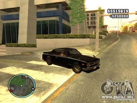 Nissan Skyline 2000 GT-R para GTA San Andreas vista posterior izquierda
