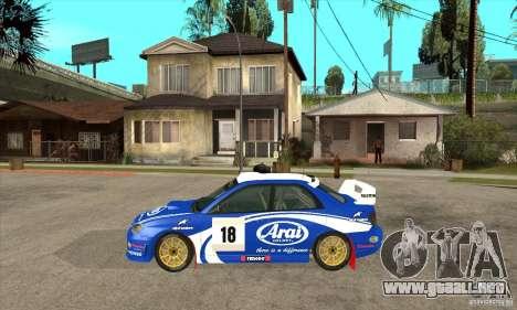 Subaru Impreza STi WRC wht1 para GTA San Andreas vista posterior izquierda