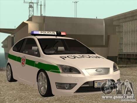 Ford Focus ST Policija para visión interna GTA San Andreas