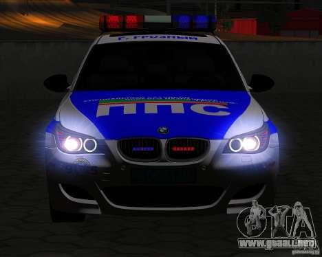 BMW M5 E60 policía para vista lateral GTA San Andreas