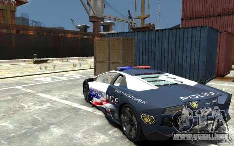 Lamborghini Reventon Police Stinger Version para GTA 4 Vista posterior izquierda