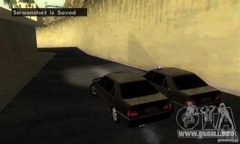Mercedes-Benz W140 S600 Long Deputat Style para GTA San Andreas vista posterior izquierda