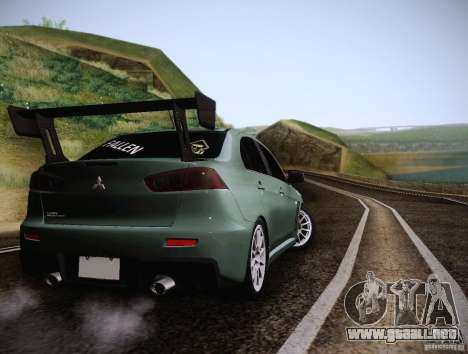 Mitsubishi Lancer Evolution Drift Edition para la visión correcta GTA San Andreas