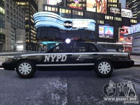 Ford Crown Victoria NYPD Auxiliary para GTA 4 vista hacia atrás