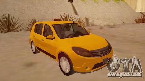 Renault Sandero Taxi para GTA San Andreas vista hacia atrás