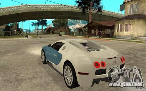 Bugatti Veyron Final para GTA San Andreas vista posterior izquierda