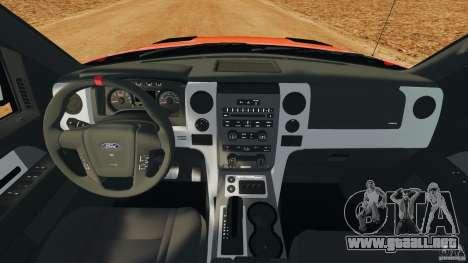 Ford F-150 SVT Raptor para GTA 4 vista hacia atrás