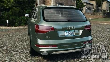 Audi Q7 V12 TDI v1.1 para GTA 4 Vista posterior izquierda