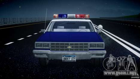 Chevrolet Impala Police 1983 para GTA 4 vista desde abajo