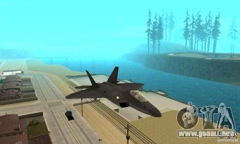 F-22 Black para GTA San Andreas vista hacia atrás
