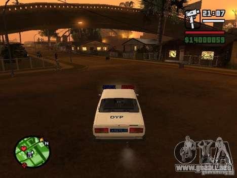 DYP 2107 police para GTA San Andreas vista posterior izquierda