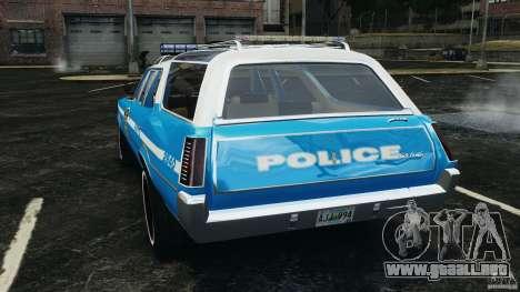 Oldsmobile Vista Cruiser 1972 Police v1.0 [ELS] para GTA 4 Vista posterior izquierda