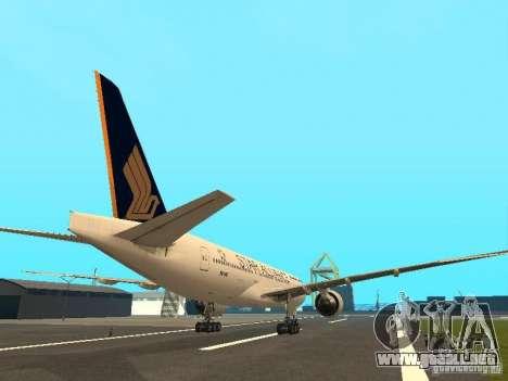 Boeing 777-200 Singapore Airlines para la visión correcta GTA San Andreas