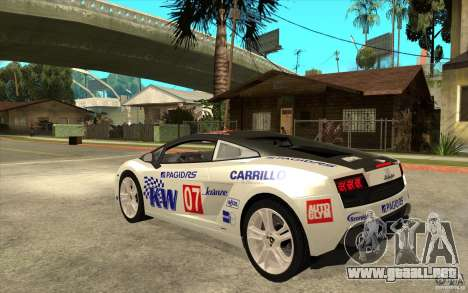 Lamborghini Gallardo LP560 para GTA San Andreas vista posterior izquierda