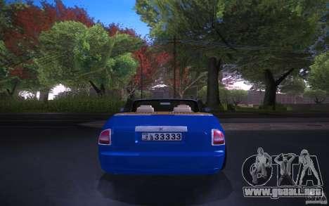 Rolls-Royce Phantom Drophead Coupe para GTA San Andreas vista posterior izquierda