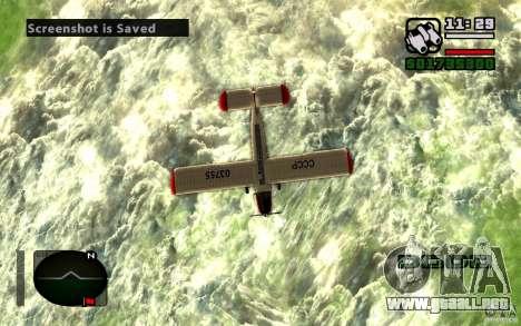 Antonov an-2 para GTA San Andreas vista hacia atrás