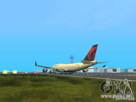 Boeing 747-400 Delta Airlines para GTA San Andreas vista posterior izquierda