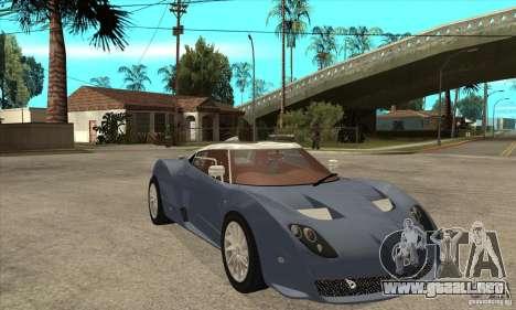 Spyker C12 Zagato para GTA San Andreas vista hacia atrás