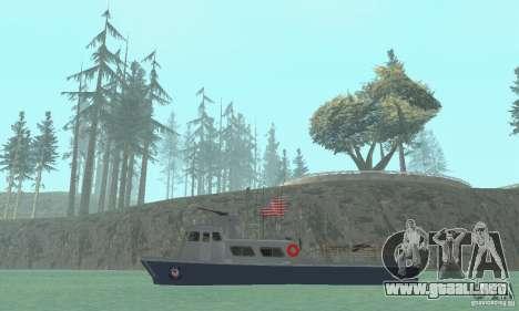 Coast Guard Patrol Boat para GTA San Andreas vista posterior izquierda