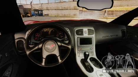 Chevrolet Corvette Z51 para GTA 4 vista hacia atrás