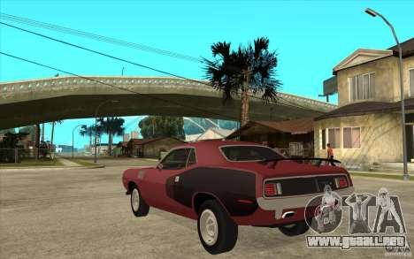 Plymouth Cuda 426 para GTA San Andreas vista posterior izquierda