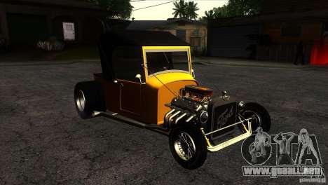 Ford T 1927 Hot Rod para GTA San Andreas vista hacia atrás