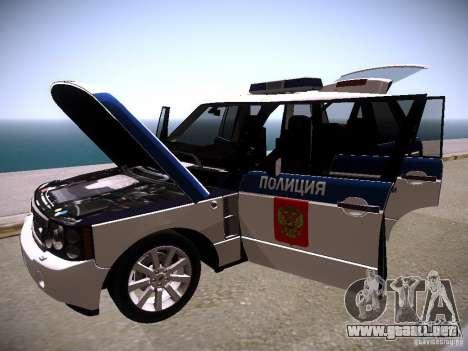 Range Rover Supercharged 2008 policía Departamen para la vista superior GTA San Andreas