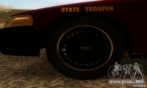 Ford Crown Victoria Minnesota Police para GTA San Andreas vista posterior izquierda