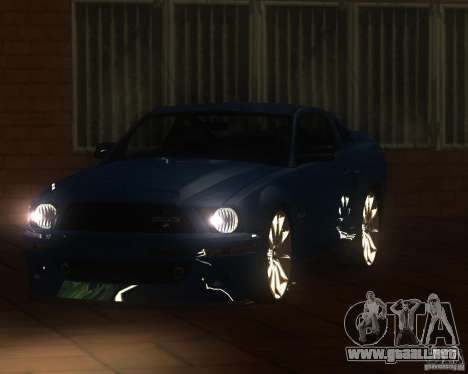 Shelby Mustang 2009 para GTA San Andreas vista posterior izquierda