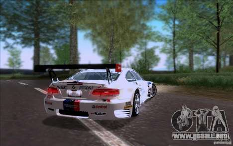 BMW E92 M3 para GTA San Andreas vista posterior izquierda
