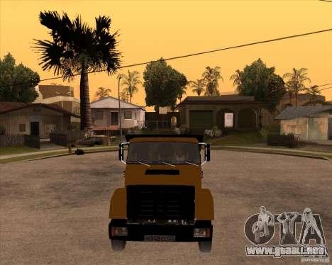 ZIL MMZ 4516 para GTA San Andreas vista hacia atrás