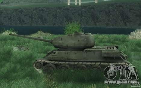 T-34-85 desde el juego COD World at War para GTA San Andreas vista hacia atrás