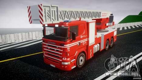Scania Fire Ladder v1.1 Emerglights blue [ELS] para GTA 4
