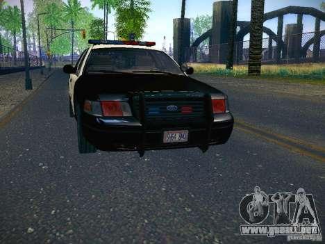 Ford Crown Victoria Police Intercopter para GTA San Andreas vista posterior izquierda