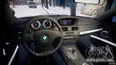 BMW M3 E92 stock para GTA 4 vista hacia atrás