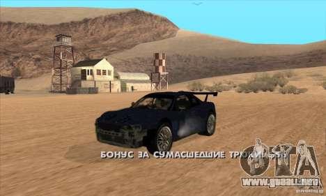Nissan Skyline R34 GT-R LM para GTA San Andreas vista hacia atrás