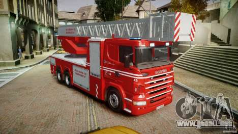 Scania Fire Ladder v1.1 Emerglights blue [ELS] para GTA 4 visión correcta