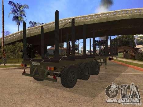 Remolque MAZ 99864 para GTA San Andreas vista posterior izquierda