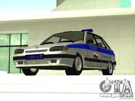 ВАЗ 2114 policía para GTA San Andreas vista hacia atrás