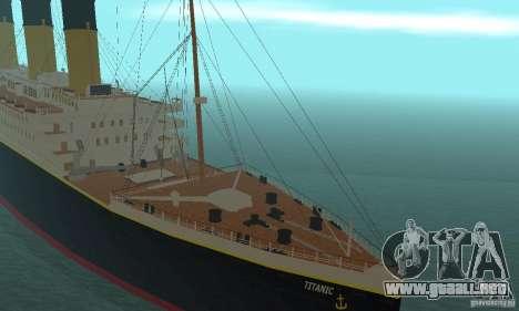 RMS Titanic para GTA San Andreas vista hacia atrás