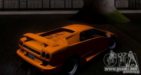 Lamborghini Diablo VTTT Black Revel para GTA San Andreas vista hacia atrás