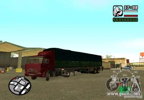 Kamaz 5460 para GTA San Andreas vista hacia atrás