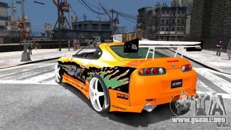 Toyota Supra Fast And Furious para GTA 4 Vista posterior izquierda
